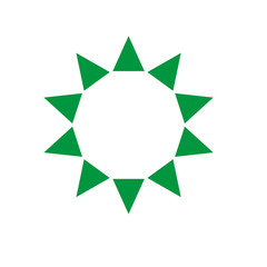 Ten sides pointed star logo green sun template triangles
