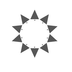 Ten sides pointed star logo grey sun template triangles