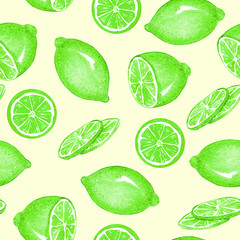 Lemon or lime fruits and slices, seamless pattern design, hand painted watercolor illustration, soft yellow background
