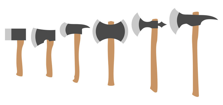 Various Axes Collection, Simple Color Flat Vector Set.