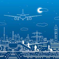 Airport illustration. Passengers go to the airplane. Aviation travel transportation infrastructure. The plane is on the runway. Night city on background, vector design art