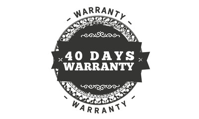 40 days warranty icon vintage rubber stamp guarantee