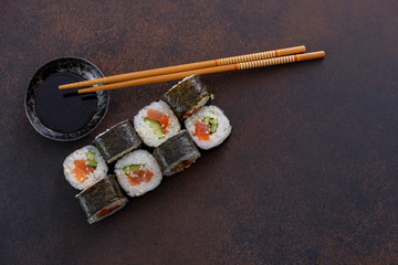 Japanese sushi roll with soy sauce