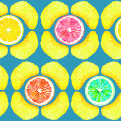 Grapefruit, orange, lime and lemon, tangerine sections, slices in geometrical form, seamless pattern design, hand painted watercolor illustration, green background