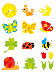 set of cute cartoon nature objects: flowers, birds, flying butterflies, bee  /collection of spring vectors for children