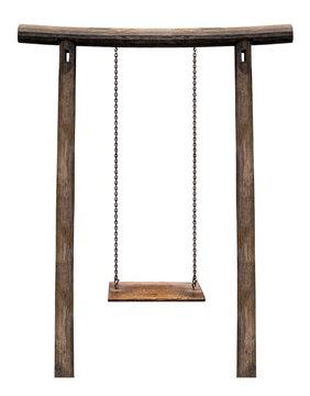Wooden swing on pillar isolated
