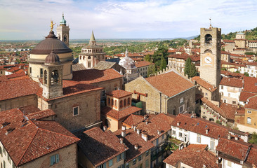 Downtown of Bergamo city, view from Torre del Gombito, Lombardy, Italy, Europe
