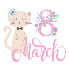 Womens Day background with cartoon cat