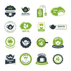 Cartoon Tea Badges or Labels Set. Vector