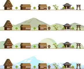 村の風景 セット