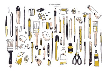 Collection of hand drawn stationery or writing utensils. Set of office and art supplies isolated on white background - brush, pen, pencil, marker, eraser, paint, sharpener. Vector illustration. Fotomurales