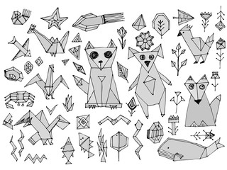 Grey Dog cat fox fish birds sea animals and plants, Black outline isolated on white background, doodle decorative contemporary elements Stylized origami. Vector