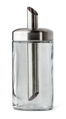 Empty glass dispenser for sugar isolated on white background with clipping path.