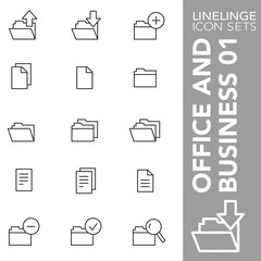 High quality thin line icons of office paper, file and folder. Linelinge are the best pictogram pack unique linear design for all dimensions and devices. Stroke vector logo symbol and website content.