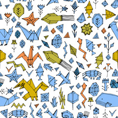 geometric seamless pattern with Marine animals and plants, black contours decorative contemporary elements Stylized origami. Green Blue yellow mustard pink geometric print, trendy backdrop. Vector
