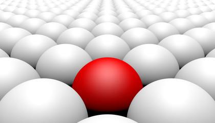 Red ball amongst white balls, concept of diversity, 3d illustration