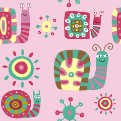 Cute children's pattern with decorative snails on a pink background