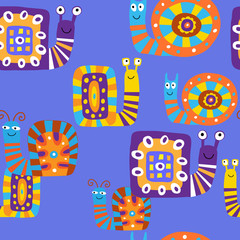 Cute children's pattern with decorative snails on a blue background