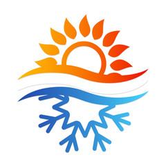 Snowflake and sun symbol