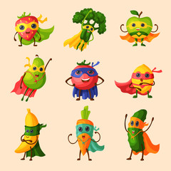 Superhero fruits vector fruity cartoon character of super hero expression vegetables with funny apple banana or pepper in mask illustration fruitful vegetarian diet set isolated on white background