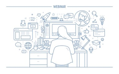 Woman sitting at computer surrounded by web symbols and watching webinar or online lecture, back view. Girl listening to internet lesson drawn with lines on white background. Vector illustration.