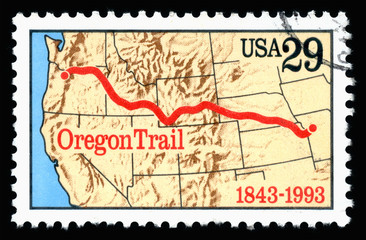 Vintage 1993 United States of America 29c cancelled postage stamp showing an image of the anniversary of the Oregon Trail
