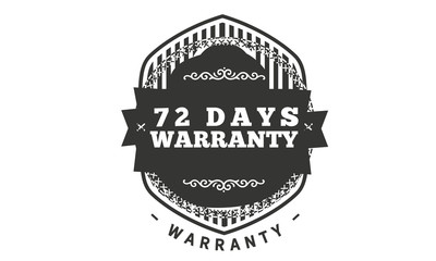 72 days warranty icon vintage rubber stamp guarantee