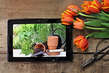 Tablet with Garden Scene and Tulips