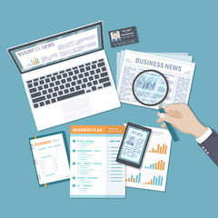 Business finance analytics, investment planning, information, consulting, management, analysis. Newspaper, online news on the screen of a laptop, phone. Business plan document. Top view. Vector.