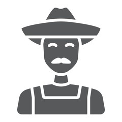 Farmer glyph icon, farming and agriculture, farm man sign vector graphics, a solid pattern on a white background, eps 10.