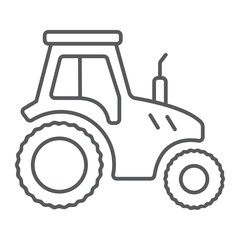 Tractor thin line icon, farming and agriculture, farm vehicle sign vector graphics, a linear pattern on a white background, eps 10.