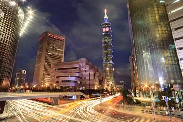 Taipei, Taiwan evening skyline with havey traffic