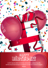 Happy Birthday card with balloons and box. Vector illustration.