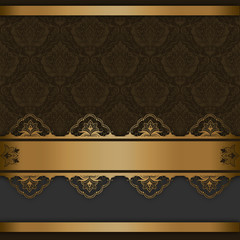 Vintage background with golden border and old-fashioned patterns.