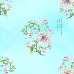 Vector seamless watercolor background. Imitation of chinese porcelain painting. Lotus flowers and leaves are painted by watercolor.