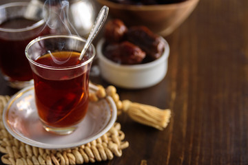 Dried dates fruits with tea for iftar