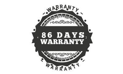 86 days warranty icon vintage rubber stamp guarantee