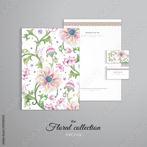 Vector Ideny Templates Letterhead Folder For Doents Business Cards Lotus Flowers And