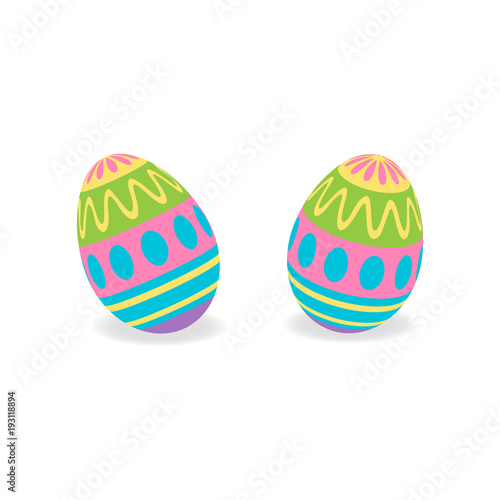 Colorful Painted Traditional Easter Eggs Vector Graphic Illustration Set Of Two 3D Egg