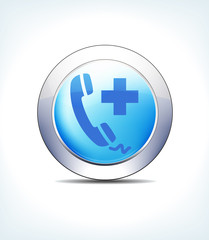 Blue Icon Button Phone Call Help, Medical Assistance, Healthcare & Pharma