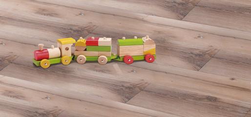 Parquet con trenino in legno per bambini