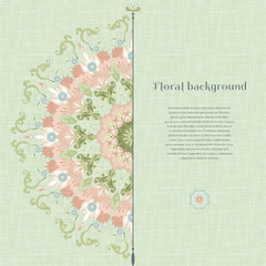 Vector card with beautiful round floral pattern in vintage style. Imitation canvas texture. Place for your text.