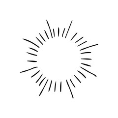 VECTOR retro hand drawn sunburst symbols, black drawings.