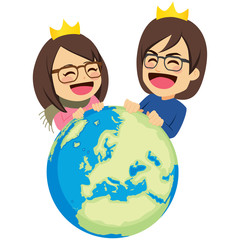 Rich happy young couple queen and king rule the world success concept