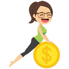 Young happy woman with glasses using fitness gold money coin pilates fitness ball exercising