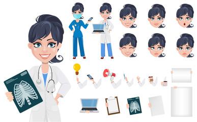 Beautiful cartoon character medic creation set.