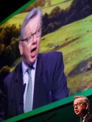 Michael Gove the Secretary of State for Environment, Food and Rural Affairs speaks during the National Farmers Union annual conference in Birmingham