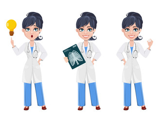 Beautiful cartoon character medic. Set