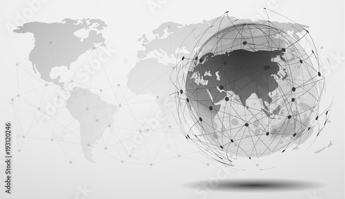 Black and white modern minimal style cloud computing networks black and white modern minimal style cloud computing networks structure world map point and line gumiabroncs Gallery