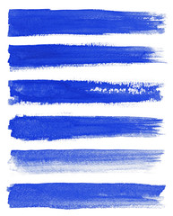 Watercolor. Blue abstract painted ink strokes set on watercolor paper. Ink strokes. Flat kind brush stroke.
